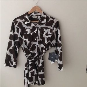 Liz Claiborne Giraffe Print Belted Tunic Size L